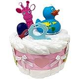Kleine Windeltorte Badeentchen Hugo 23tlg. in rosa für Mädchen Geschenk zur Geburt...