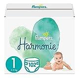 Pampers Baby Windeln Größe 1 (2-5 kg) Harmonie, 102 Stück, HALBMONATSBOX, Sanfter...