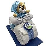 Windeltorte/Windelmotorrad blau für Jungen mit Teddybär + gratis Klappk