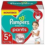 Pampers Windeln Pants Größe 5+ (12-17kg) Baby Dry, 120 Höschenwindeln, MONATSBOX,...