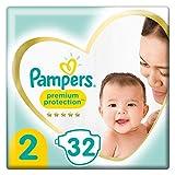 Pampers Größe 2 Premium Protection Baby Windeln, 32 Stück, Tragepack, Weichster Komfort...