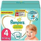 Pampers Baby Windeln Größe 4 (9-14kg) Premium Protection, 168 Stück, MONATSBOX, Pampers...