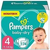 Pampers Windeln Größe 4 (9-14kg) Baby Dry, 174 Stück, MONATSBOX, Bis Zu 12Stunden...