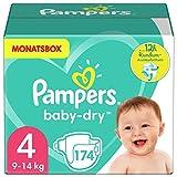 Pampers Größe 4 Baby Dry Windeln, 174 Stück, MONATSBOX, Für Atmungsaktive Trockenheit...