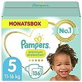 Pampers Baby Windeln Größe 5 (11-16kg) Premium Protection, 136 Stück, MONATSBOX,...