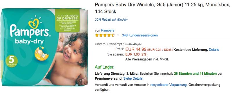 Pampers Angebot von Baby Dry 5