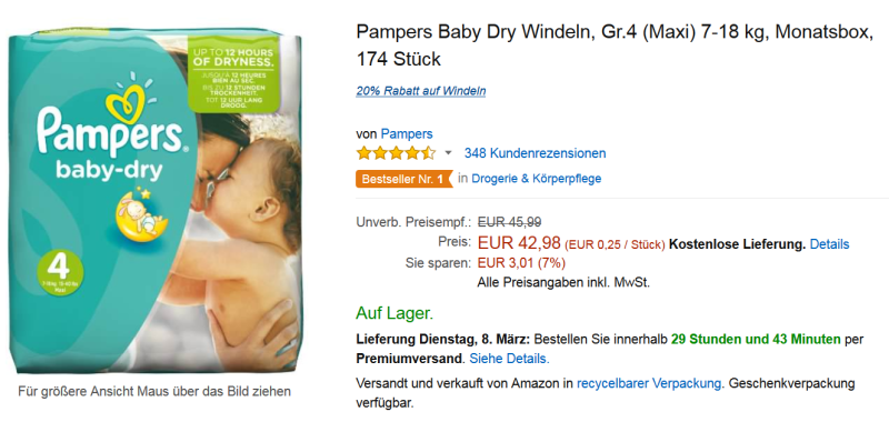 Pampers Angebot Baby Dry 4